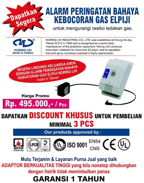 Alarm Kebocoran Gas pd berkat terang dunia protection supplier