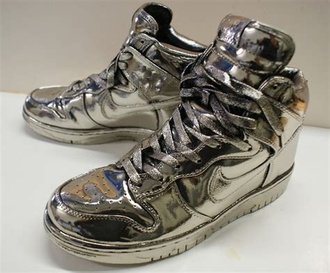 nike silver sneakers nike dunk highs shoes bronzed in silver by thebronzery