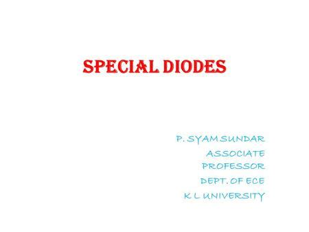what are special diodes schottky barrier diode ppt
