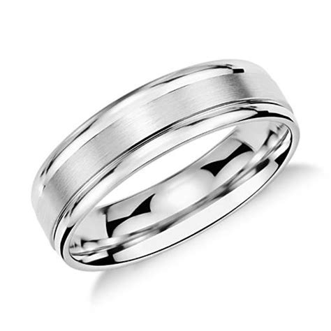 Brushed Inlay Wedding Ring in Platinum (6mm)   Blue Nile