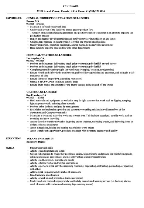 warehouse laborer resume sles velvet