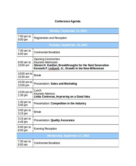 8 Sle Conference Agenda Templates Sle Templates Conference Schedule Template