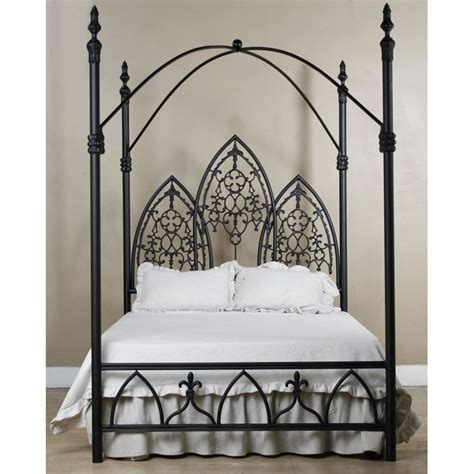 Gothic Dark Metal Canopy Bed Frame With Fretwork Corsican Canopy Frames For Beds