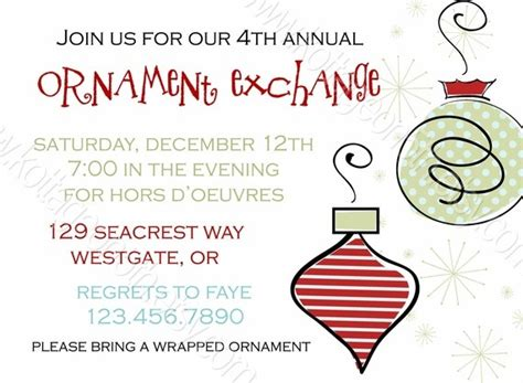 sle wording for ornament exchanges 1000 images about ornament exchange on invitations merry and