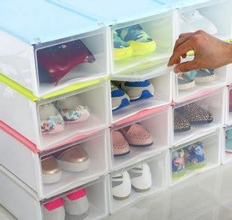 Promo Kotak Sepatu Plastic Box Shoes Transparant Sandal Warna Warni 4pcs lot shoe wrapped plastic storage box drawer type transparent plastic shoes box drawer
