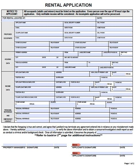 Free Rental Credit Application Form Template Free Hawaii Rental Application Form Pdf Template