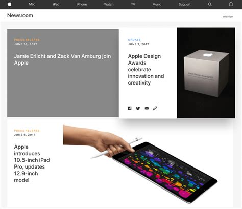 apple newsroom what makes a great press webpage