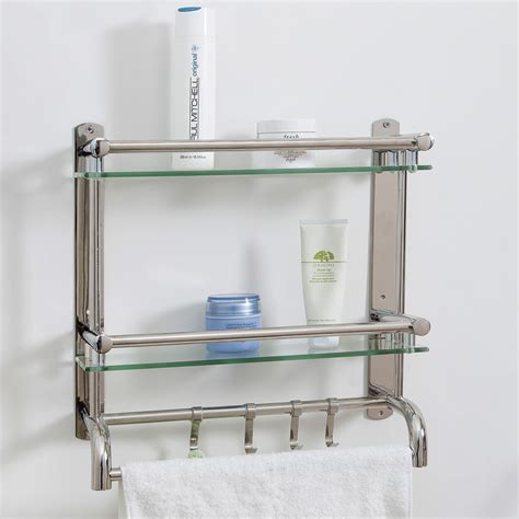 Stainless Steel Bathroom Shelving Wall Mounted Stainless Steel Bathroom Shelf Rack 2 Tier Glass Shelves 2 Towel Bars With Hooks