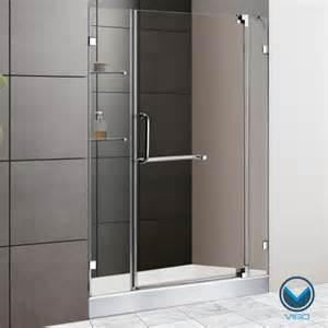 vigo clear glass with white base frameless shower door by