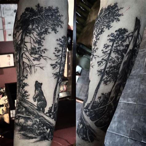 collection of 25 bear in forest tattoo