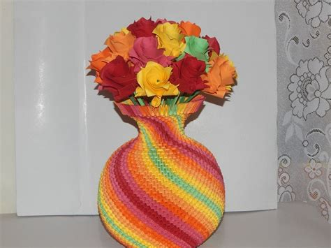 How To Make A Paper Vase - pin 3d origami rainbow vase tutorial on