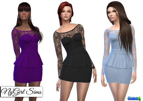 Peplum Top Duo Colours nygirl sims 4 sleeve lace top peplum mini dress