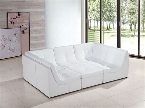 modern white bonded leather sectional sofa divani casa 207 modern white bonded leather sectional sofa