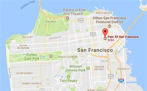 hotels in san francisco map california dreamin parc 55 san francisco review the
