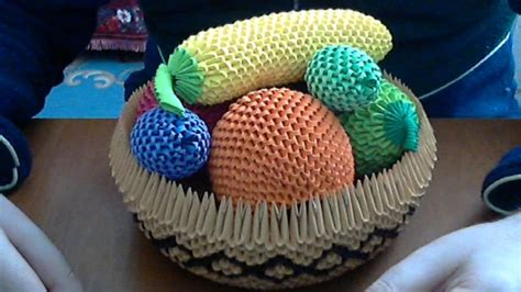 3d Origami Basket - how to make 3d origami fruit basket