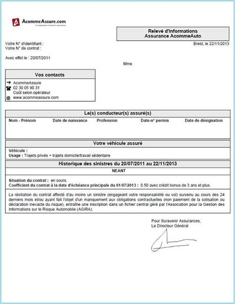 Modele De Lettre Resiliation Protection Juridique Qu Est Ce Qu Un Relev 233 D Informations En Assurance Auto