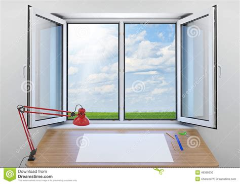 The Open Window Essay by Open Window Green Meadow On Background In Room Stock Illustration Image 46368530