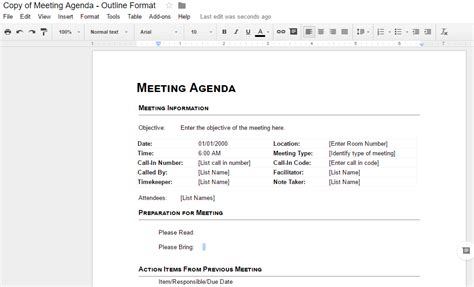 table of contents template google docs best business