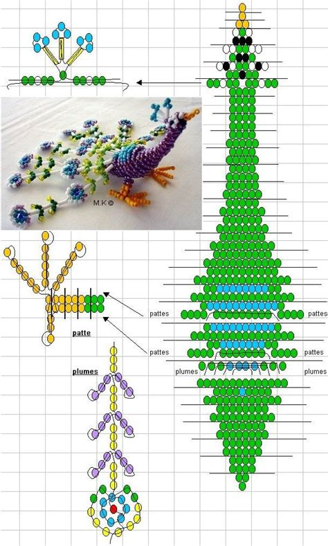 3d bead animals patterns free peacock interesting jewelry projects