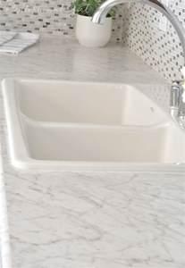 Granite Look Alike Laminate Countertops - gray white kitchen remodel centsational