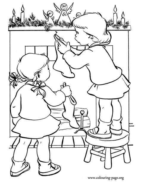 coloring page christmas fireplace christmas stocking coloring pages coloring home
