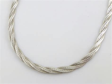 925 sterling silver twisted herringbone chain necklace 15 quot