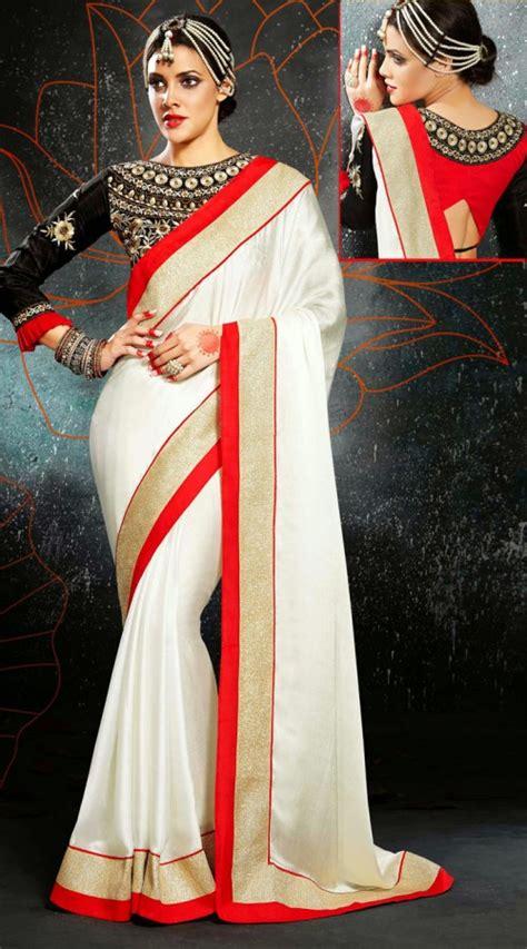 Blouse Fashion Bordirr 5 awesome border sarees with designer blouse ideas indian fashion mantra