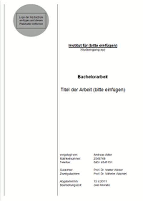 Word Vorlage Masterarbeit Gestaltung Und Inhalt Des Titelblattes Einer Bachelorarbeit