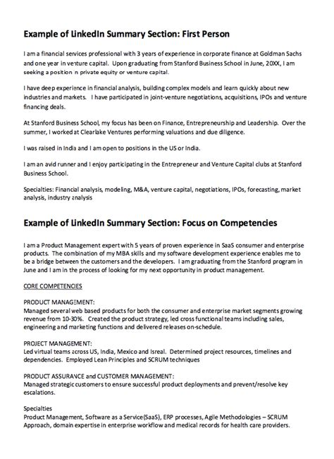 Resume Template Linkedin by Linkedin Summary Resume Exle Http Resumesdesign