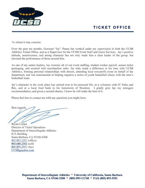 Recommendation Letter Operations Manager Reference Letter Bryan Cornet Director Of Ticket