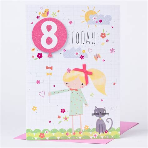 8th Birthday Card   Girl, Balloon & A Cat   Only 79p