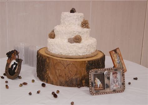 Rustic Bridal Shower Cakes by Rustic Wedding Shower Cake With Tree Stump Cake Base