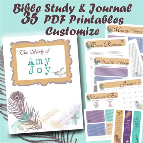 Items Similar To Pdf Bible Study Journal And Notes 35 Printables Custom Prayer Reminders Topical Bible Study Template