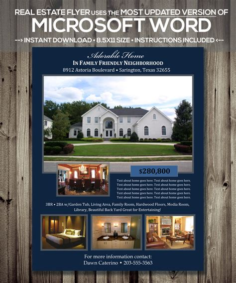 Real Estate Flyer Template Microsoft Word Docx Version Real Estate Listing Template