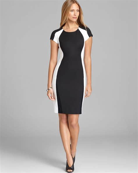 Dkny Color Block Cap Sleeve Sheath Dress in White   Lyst