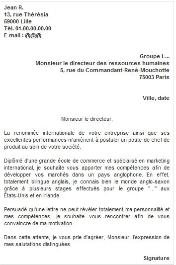 Exemple De Lettre De Motivation Réponse à Une Annonce Lettre De Motivation Employment Application