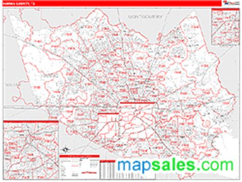 harris county texas zip code map harris county tx zip code wall map line style by marketmaps