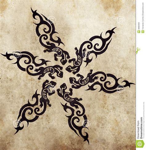 tribal salamander sketch of tattoo art stock illustration