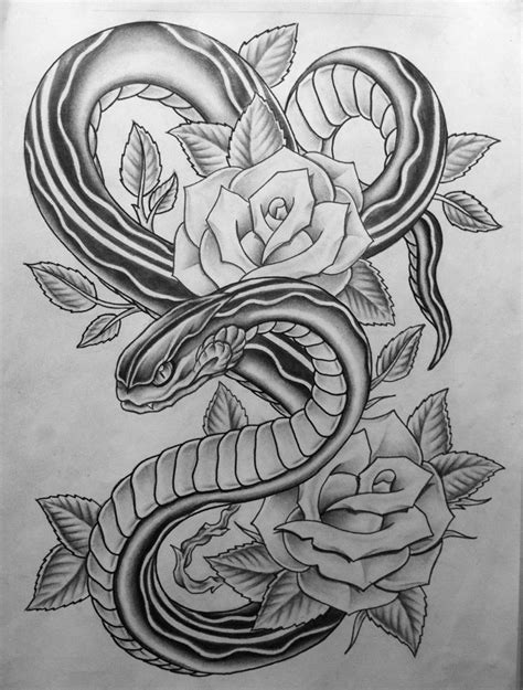 tattoos of snakes and roses snake roses by nsanenl on deviantart