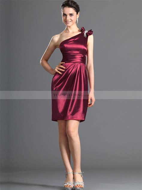 Dress Satin one shoulder sheath elastic satin bridesmaid dress