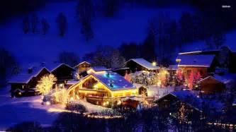 Forest snow woods snowy lights winter christmas light tree wallpaper