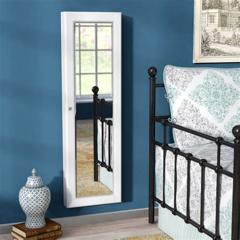 alcott hill flora wall mounted jewelry armoire  mirror
