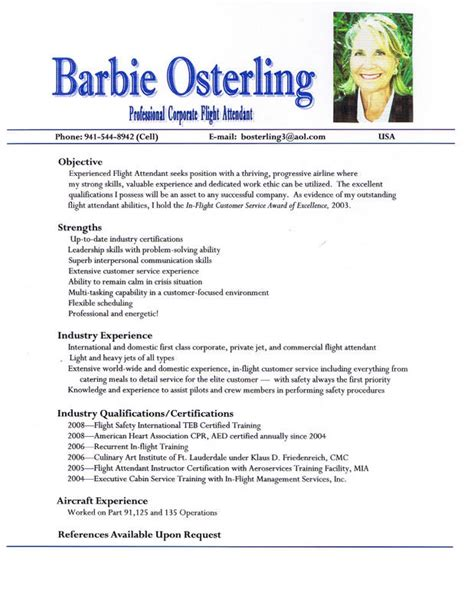 flight attendant resume sles corporate flight attendant osterling