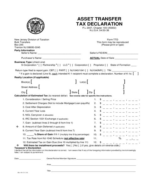 sle of declaration form assets transfer tax declaration new jersey free