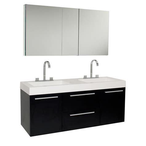Bathroom Vanities Two Sinks 54 25 Inch Black Modern Sink Bathroom Vanity With Medicine Cabinet Uvfvn8013bw54