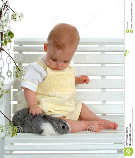 bunny baby swing baby and bunny on swing royalty free stock photos image