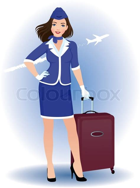 Log Cabin Plans by Illustration Of A Young Woman Stewardess With Luggage