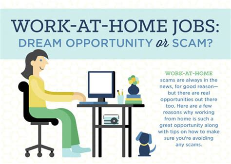 are work at home an opportunity or a scam infographic