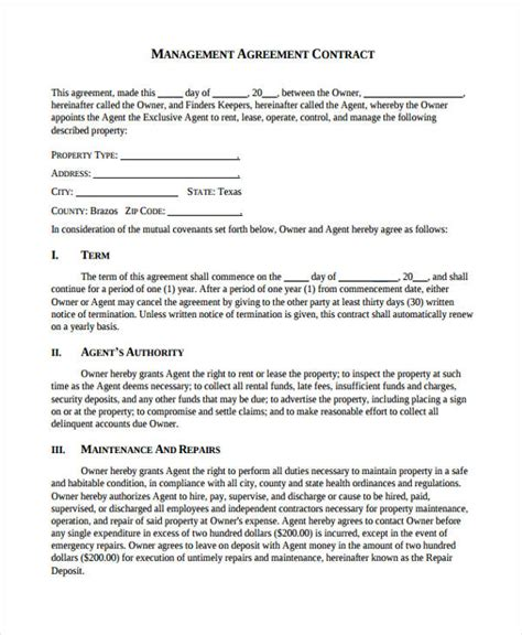8 Management Contract Templates Word Docs Free Premium Templates Management Contract Template