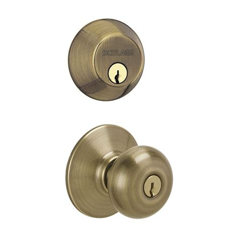 Schlage Plymouth Knob by Schlage Plymouth Single Cylinder Antique Brass Knob Combo